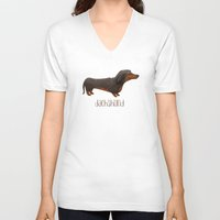dachshund V-neck T-shirts featuring Dachshund by 52 Dogs