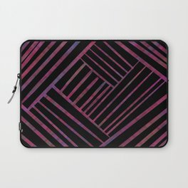 SAVANT black with bright pink and purple lines pattern Laptop Sleeve