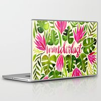 lime Laptop & iPad Skins featuring Tropical Wanderlust – Pink & Lime by Cat Coquillette