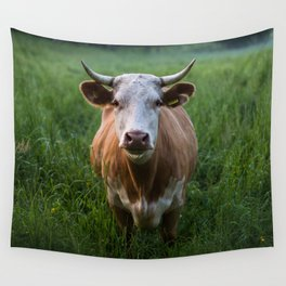 COW - FIELD - GREEN - VALLEY - NATURE - PHOTOGRAPHY - LANDSCAPE Wall Tapestry