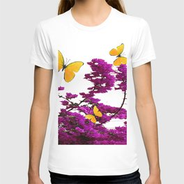 YELLOW BUTTERFLIES & PURPLE BOUGAINVILLEA FLOWERS T-shirt