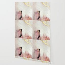 Sunrise [2]: a bright, colorful abstract piece in pink, gold, black,and white Wallpaper