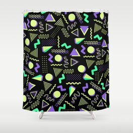 Geometrical retro lime green neon purple 80's abstract pattern Shower Curtain