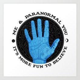 Me & Paranormal You - James Roper Design - Palmistry (black lettering) Art Print