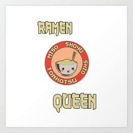 Ramen Queen Japanese Noodles Vintage Retro Style Japan Art Print