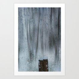 Snow and raindrops Art Print