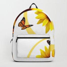 ORANGE MONARCH BUTTERFLIES & SUNFLOWER  PATTERN Backpack