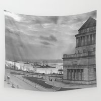 tomb raider Wall Tapestries featuring Grant's Tomb and Battleships in Manhattan (1919) by BravuraMedia