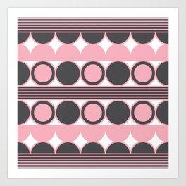 Geometric Circles (Candy Pink, Charcoal Black) Art Print