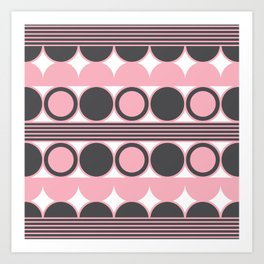 Geometric Circles (Candy Pink, Charcoal Black) Art Print