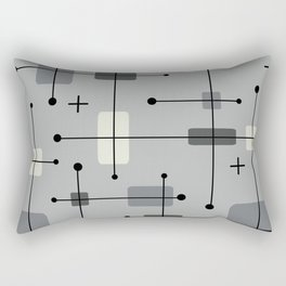 Rounded Rectangles Squares Gray Rectangular Pillow