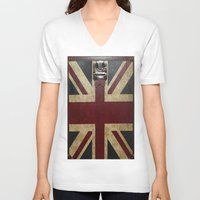 england V-neck T-shirts featuring England Reisen by Fine2art