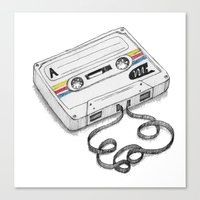 cassette Canvas Prints featuring Cassette by Sonia Puga Design