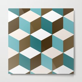 Cubes Pattern Teals Browns Cream White Metal Print