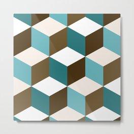 Cubes Pattern Teals Browns Cream White Metal Print