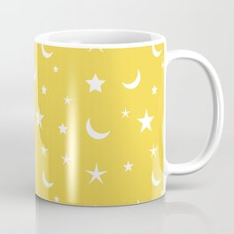 White moon and star pattern on yellow background Coffee Mug