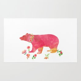 Bear with flowers - Animals Watercolor illustration Rug