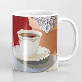 Teacup, Childhood Books, & Succulent Plant Coffee Mug