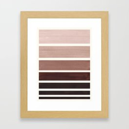 Raw Umber Minimalist Mid Century Modern Color Fields Ombre Watercolor Staggered Squares Framed Art Print
