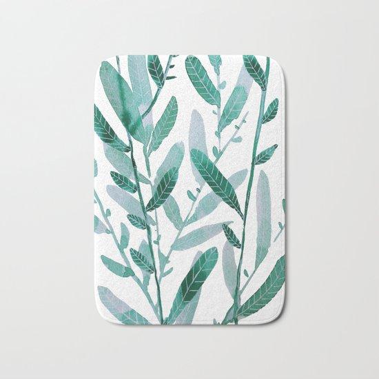 greeen water color leaves Bath Mat