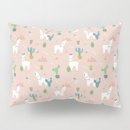 Summer Llamas on Pink Pillow Sham