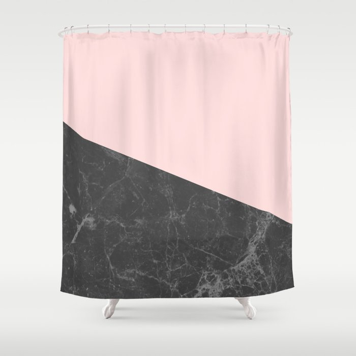 Pink Grey And Black Shower Curtain - Shower Ideas