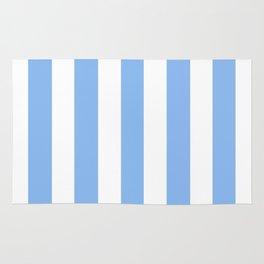 Jordy blue - solid color - white vertical lines pattern Rug
