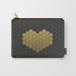 Beehive Hexagonal Geometric Heart Carry-All Pouch