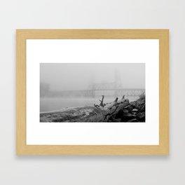 Frosted Log By Bridge In Fog Framed Art Print