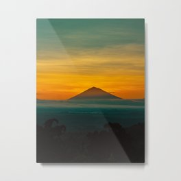 Mountain Volcano In The Distant Green Yellow Orange Sunset Hues Landscape Photography Metal Print