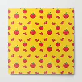 Red Tomatoes Pattern On Yellow Metal Print