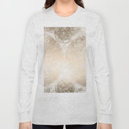 Antique World Map White Gold Long Sleeve T-shirt