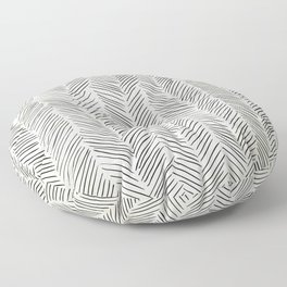 Herringbone Black on Cream Floor Pillow