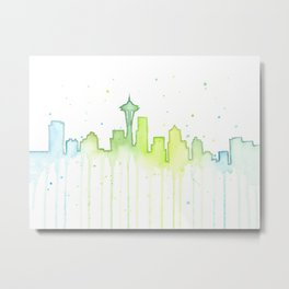 Seattle Skyline Watercolor Space Needle Painting Metal Print