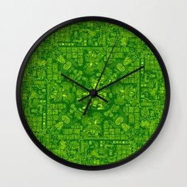 Mayan Spring GREEN / Ancient Mayan hieroglyphics mandala pattern Wall Clock