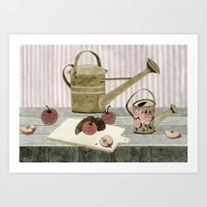 Watering Cans and Apples Art Print