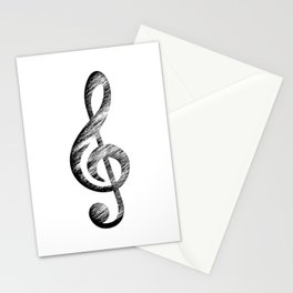 Distressed Music Clef Stationery Cards