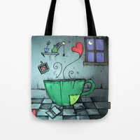 cup Tote Bags featuring cup by Maria Sciarnamei