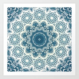 Creamy and blue mandala pattern#4 Art Print