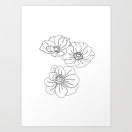 Botanical floral illustration line drawing - Anemone White Art Print