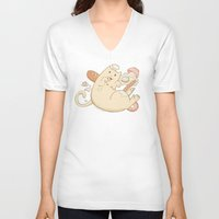 chef V-neck T-shirts featuring Chef Cat by gerbie