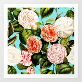 Vintage & Shabby Chic - Teal Floral Camellia  Flowers Watercolor Pattern Garden Art Print