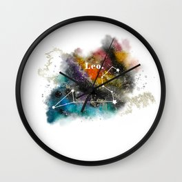 Galaxy LEO Star Sign Astrology Watercolour Rainbow Art Print Art Print Wall Clock