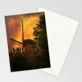 Old windmills in small town of Woudrichem, Holland Stationery Cards