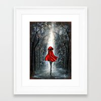 red riding hood Framed Art Prints featuring Little Red Riding Hood by Annya Kai