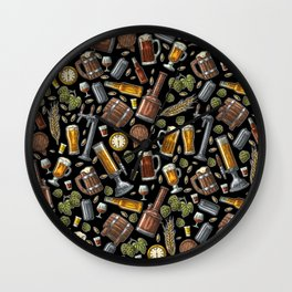 Beer Makes The World Go Round - Black Pattern Wall Clock