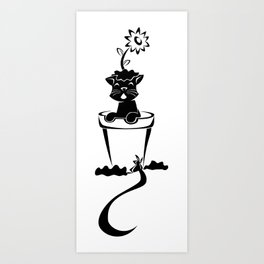 Silhouette In The Flower Pot Art Print