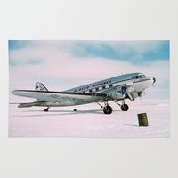 aviation Area & Throw Rugs featuring Vintage aviation photograph Alaska Airlines airplane air plane classic pilot flight travel photo by iGallery
