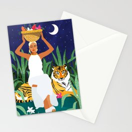 Tiger Camping, Wildlife Wild Jungle Illustration, Modern Bohemian Black Woman, Starry Night Moon Stationery Cards