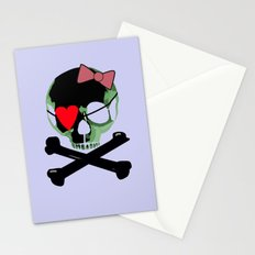 Green skull with heart and bow Stationery Cards
